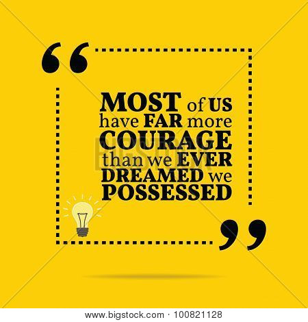 Inspirational Motivational Quote. Most Of Us Have Far More Courage Than We Ever Dreamed We Possessed