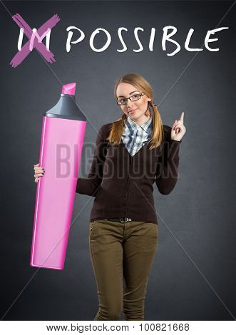 Positive young girl with big marker, concept optimist