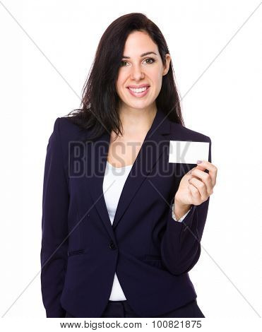 Young businesswoman show with blank namecard