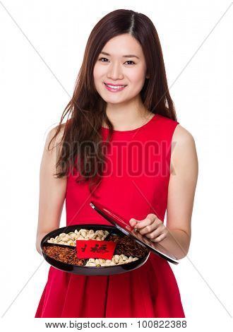 Chinese young woman show with snack tray