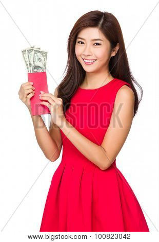 Young chinese woman holding with Lucky money with USD