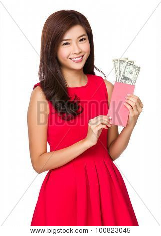 Chinese young girl hold with Lucky money with USD