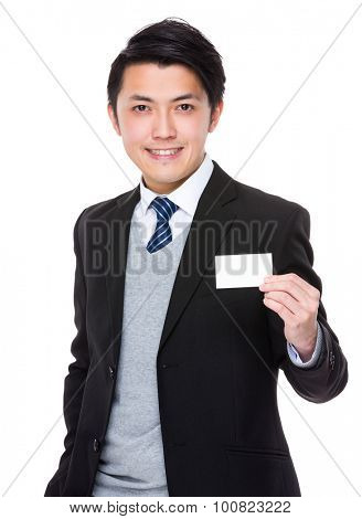 Businessman show with the blank namecard