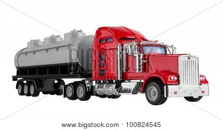 Truck with tank isolated on white background. Model.