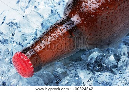 Bottles in ice close up
