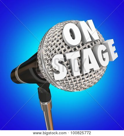 On Stage words on microphone to illustrate a concert or performance by a singer or comedian in a theatre in front of an audience