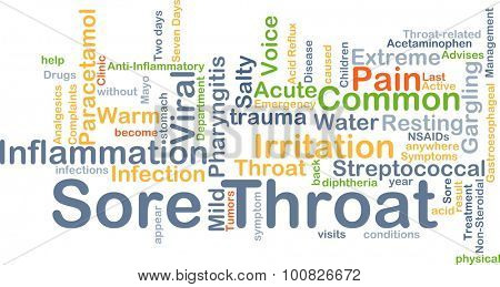 Background concept wordcloud illustration of sore throat