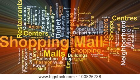 Background concept wordcloud illustration of shopping mall glowing light