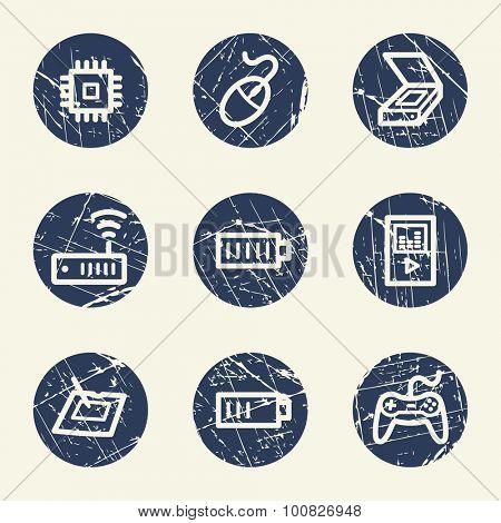 Electronics web icons set 2, grunge circle buttons