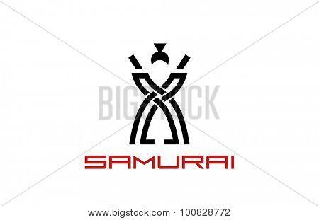 Samurai Logo design vector template. Japan culture concept. Man Warrior symbol logotype icon.