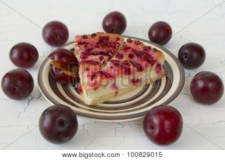 Plum Cheesecake And Plums