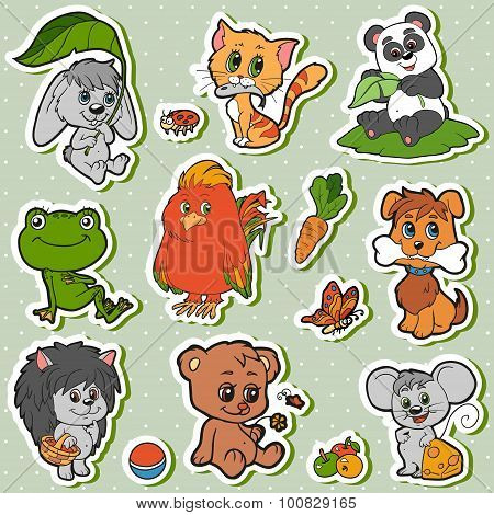 Cute Animals Set, Vector Kids Stickers With Baby Animals