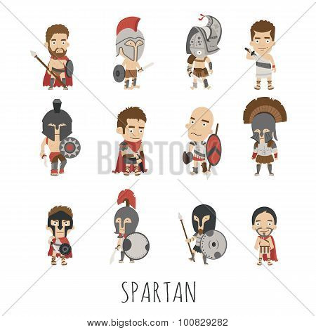 Set Of Spartan Soldier Costume Characters