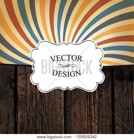 Vintage styled design template. Vector texture and colorful rays. Vintage white label
