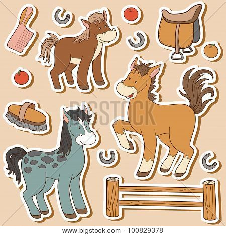 Color Set Of Cute Farm Animals And Objects, Vector Family Horse And Objects