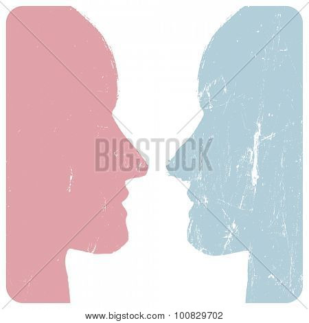 Man and woman profiles. Relations concept. Grunge styled. Abstract unrecognizable faces. Vector illustration.