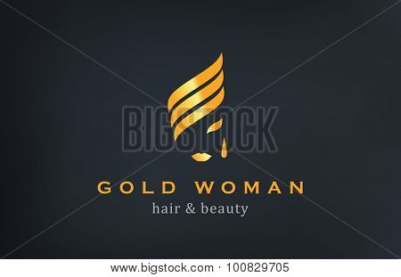Woman face Logo Jewelry Fashion Luxury vector design template. Creative Gold logotype.