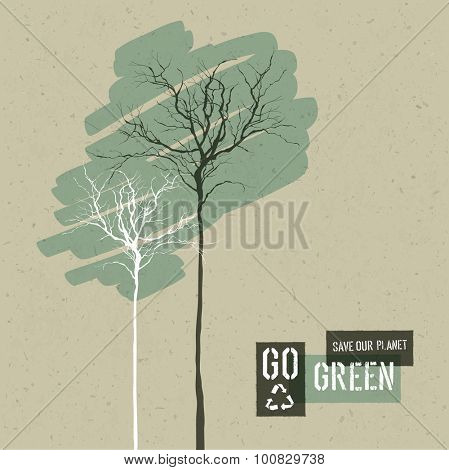 Save Nature Concept Illustration. Trees on Cardboard Realistic Background. Go Green Headline with Reuse Symbol. Vector illustration.