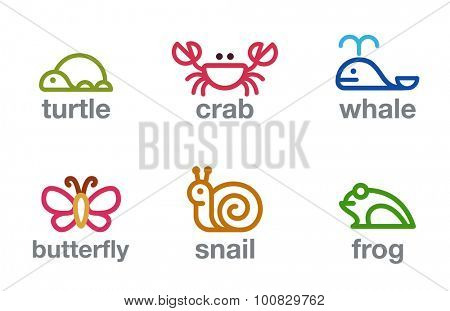 Lineart Animals Logos design vector templates set.