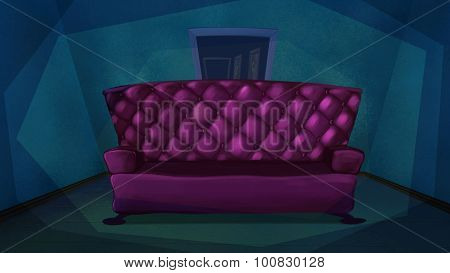 Pink Sofa In Blue Living Room.