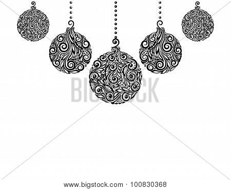 beautiful monochrome Black and White Christmas background with Christmas balls Hanging . Great for g