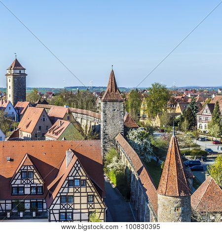 City Wall Of Rothenburg Ob Der Tauber