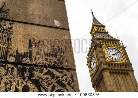 Big Ben Famous Landmark And Wall Graffiti