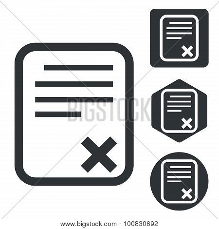 Declined document icon set, monochrome