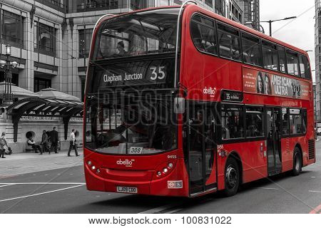Modern Red Bus In London Bishopsgate