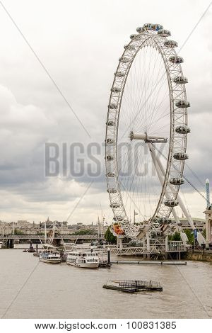 River Thames And The London Eye, Golden Jubilee Bridges,