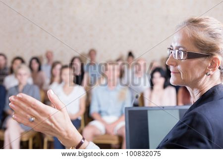 Corporate Trainer During Business Symposium