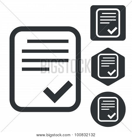 Approved document icon set, monochrome