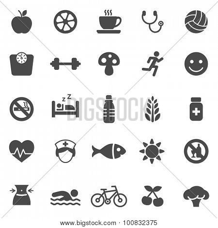 Healthy black icons set.Vector