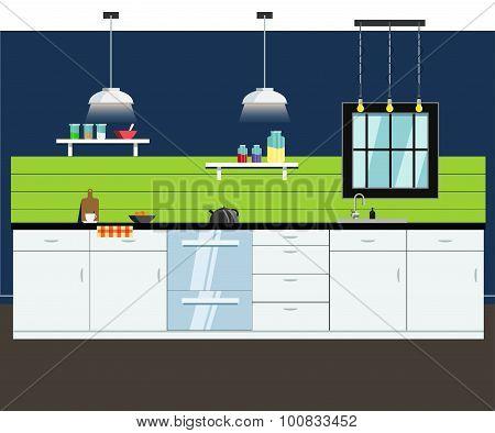 Kitchen interior. Vector