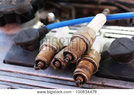 Macro Shooting Used Spark Plugs In The Car