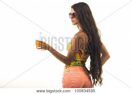 Brunette with orange juice.