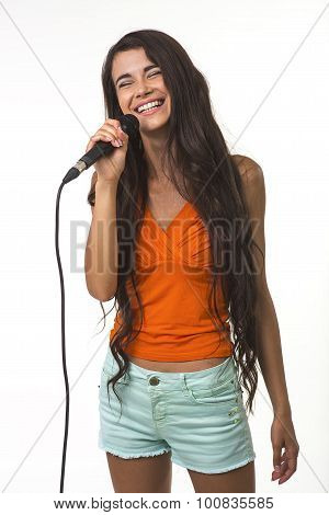 Pretty lady with the microphone.