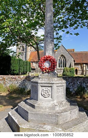 War Memorial and church, Hambledon.