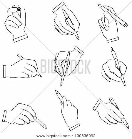 sketched hand gesture sign