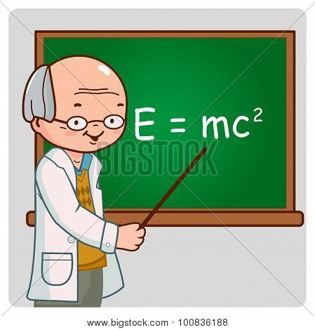 Science teacher on blackboard