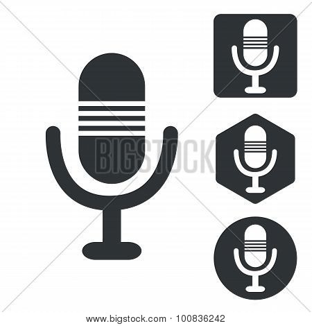 Microphone icon set, monochrome
