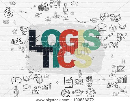 Business concept: Logistics on wall background