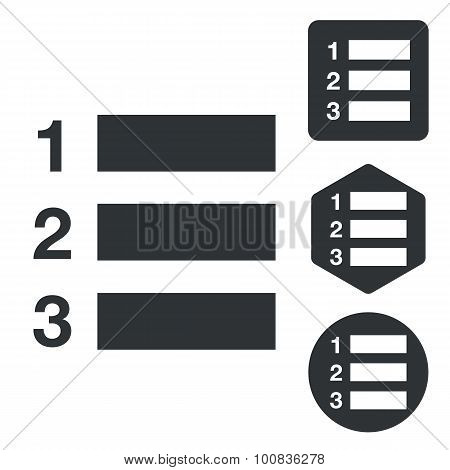Numbered list icon set, monochrome