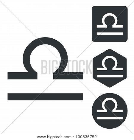 Libra icon set, monochrome