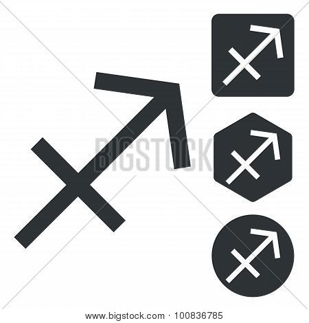 Sagittarius icon set, monochrome