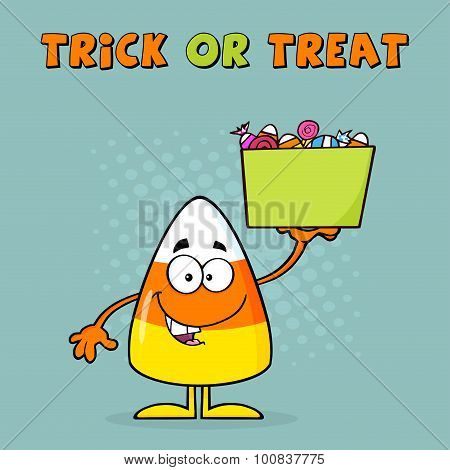 Candy Corn Cartoon Character Holds A Box With Candy