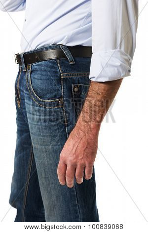 Side view of a men in jeans trousers.