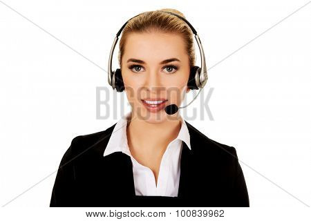 Young helpline operator in headset.