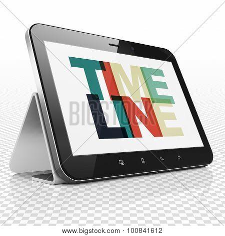 Timeline concept: Tablet Computer with Timeline on  display