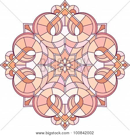 Abstract Vector Colorful Round Lace Design In Mono Line Style - Mandala, Decorative Element In Red M